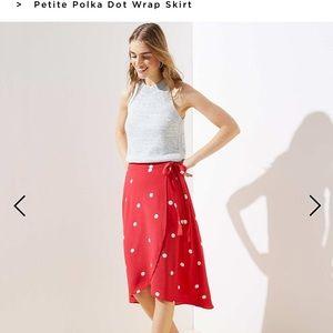 00P red, polka dot flow skirt